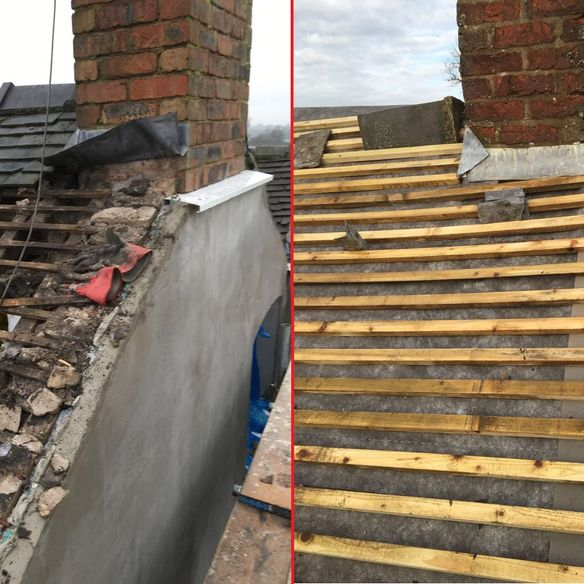 repairing a roof removing slates